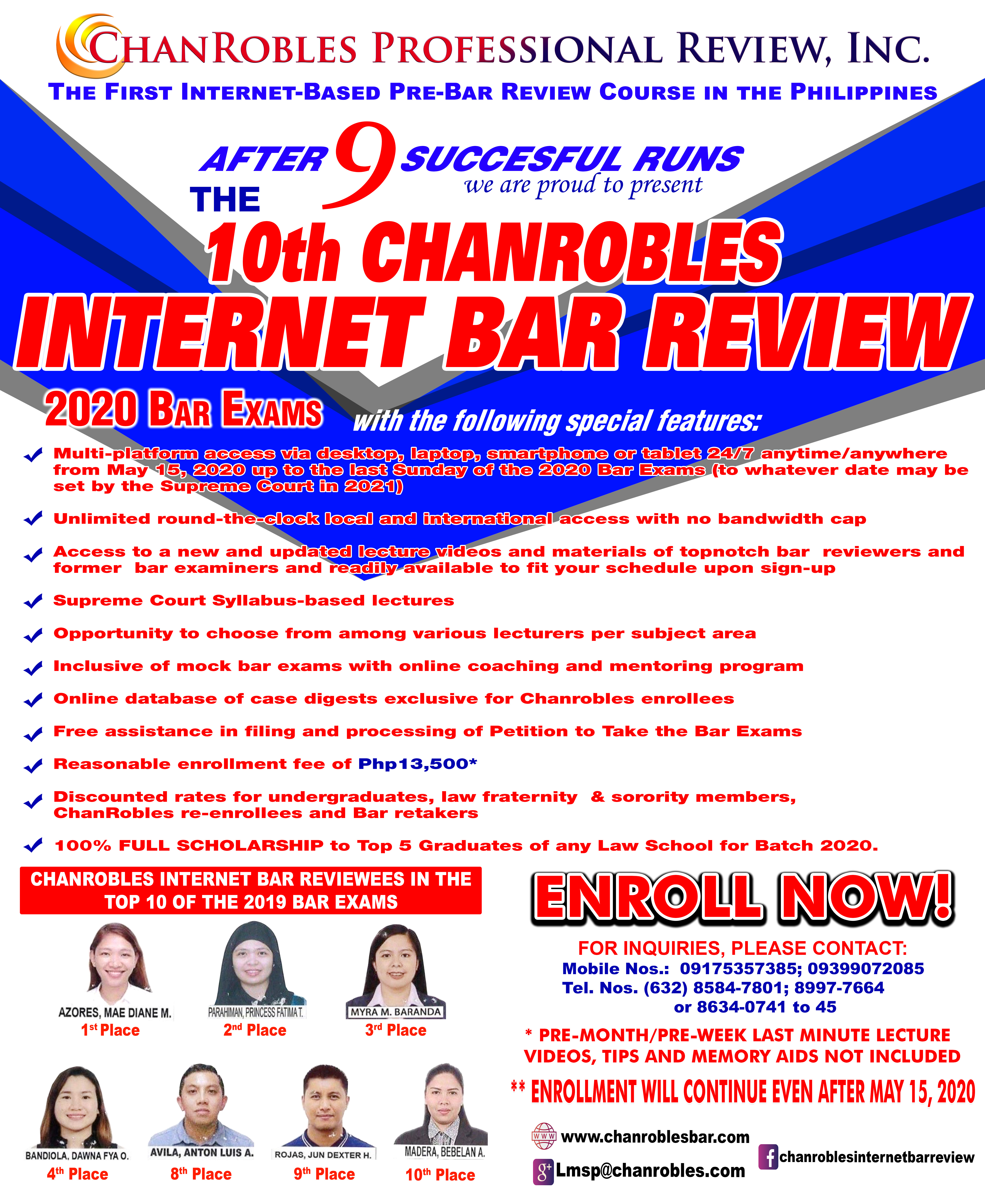 ChanRobles Internet Bar Review Topnotchers and Bar Passers